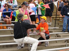 My husband proposed to me at the 2005 Bolder Boulder.  We have been married for 5 years and run it every year!