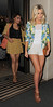 Vanessa White and Mollie King from pop group The Saturdays, leaving their hotel. London, England