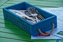 Knives & Forks (Milly M.) Tags: blue green menu fork knivesforkswivertonhalllunch northnorfolkeatingoutknive