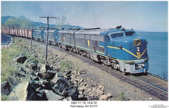 D&H 17, 19, 18 & 16 (Robert W. Thomson) Tags: railroad newyork train diesel railway trains pa dh locomotive trainengine coveredwagon alco delawareandhudson pa1 warbonnet porthenry sixaxle pa4 cabunit pa4u