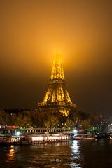 The Lady blurry (JMx) Tags: paris fog seine night river eiffeltower eiffel rivire toureiffel nuit brouillard fleuve thelady effeil effeiltower