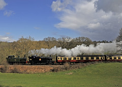 1450 &  4566 double headed northbound passing through Bank Farm. (GVG Imaging) Tags: severnvalleyrailway 2014springsteamgala