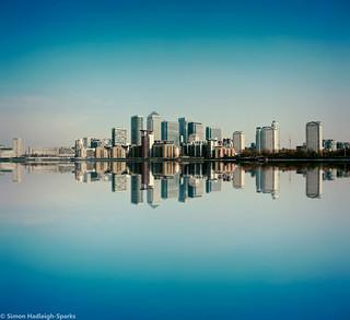 Canary Wharf Skyline - London Reflection by Simon Hadleigh-Sparks (Original Version)