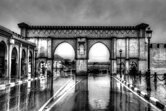 Morocco - Meknes Entrance (Rik Tiggelhoven Travel Photography) Tags: world africa street city travel light blackandwhite bw reflection building heritage wet monochrome rain architecture canon photography site gate noir cityscape arch outdoor mosaic details unesco morocco mausoleum maroc afrika ismail rik marokko bab meknes 6d moulay ef24105mmf4lisusm tiggelhoven
