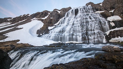 Perhaps the dream is dreaming us (OR_U) Tags: longexposure mountain snow water waterfall iceland widescreen sting le oru 169 westfjords dynjandi 2016