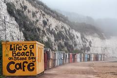 Stone Bay in the Mist (markkilner) Tags: england mist beach fog canon eos 50mm kent cafe 7d dslr beachhuts broadstairs kilner stonebay