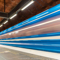 Rdhuset Metro Station in Stockholm, Sweden (Ioannis Ioannou Photography) Tags: lights square blue blur scandinavia ioannisioannouphotography travel train photography orange sweden stockholm rdhuset longexposure station metro sverige tbana