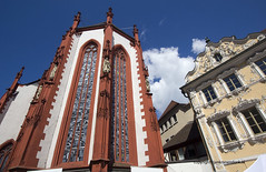 Wurzburg (Jan Kranendonk) Tags: old city blue red summer sky house building church architecture facade germany deutschland town europe gothic sunny landmark medieval german historical baroque ornamental wurzburg deutsch marienkapelle falkenhaus