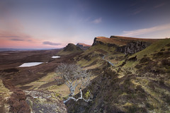 Quiraing (Kevin.Grace) Tags: sunset lake mountains tree landscape scotland isleofskye