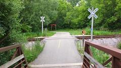 Along the Glacial Drumlin Trail (sfrikken) Tags: glacial drumlin trail path bicycle bike wisconsin waukesha bridge fox river stop railroad crossing graffiti