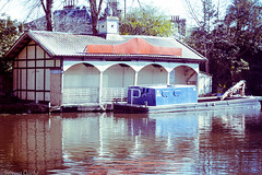 Boathouse (Cherry Becwell) Tags: uk building water architecture canon outside eos 50mm scotland canal edinburgh outdoor united kingdom arches structure boathouse amateur beams amateurphotography 1100d
