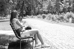 The bench (franco indaco) Tags: street bw woman white black milan nature girl smile canon donna women candid milano candidcamera nofilter