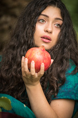 Does this count as one of my five a day? (judi may) Tags: portrait woman girl beautiful beauty lady female model feminine preraphaelite pomegranite canon7d