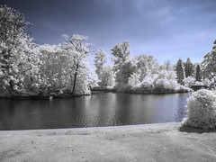 Dulwich Park (blackwoodse6) Tags: park uk blue trees england white london canon ir pond outdoor bluesky infrared foilage southlondon southwark dulwich falsecolour southeastlondon dulwichpark londonparks infraredphotography 720nm londonboroughofsouthwark canong10