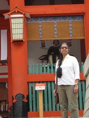 Kyoto-16.003 (davidmagier) Tags: sunglasses japan architecture kyoto religion ponytail shrines jap touristattractions aruna historicsite