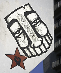 GATS With Fist (westbymidwest) Tags: california streetart graffiti oakland sticker gats nmg starfist graffitiagainstthesystem