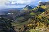 Quiraing Dawn (Chris Beard - Images) Tags: mountains colour tree skye grass dawn scotland spring rocks colours isleofskye hills trotternish quiraing springlight trotternishridge biodabuidhe springdawn
