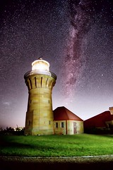 The Barrenjoey Way (damien.lee) Tags: lighthouse night canon stars galaxy palmbeach barrenjoey milkyway