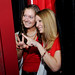 Student Body President Chandler Thompson (right) and a friend pose in the photo booth.