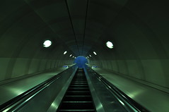 Into the Blue (HannyB) Tags: blue green london station dark underground interestingness metro escalator 100v10f southwark metrostation goingup intotheblue 30faves30comments300views