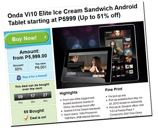 Onda Vi10 Elite Ice Cream Sandwich Android Tablet on Groupon Philippines