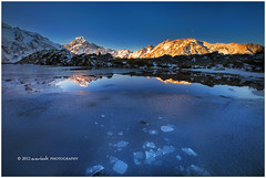 Aoraki on Ice (Dylan Toh) Tags: new sunset reflection ice landscape photography frost zealand cracks dee mountcook aoraki sealy tarns everlook