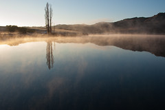 Butcher's Mist (Ian@NZFlickr) Tags: mist lake pool sunrise poplar dam central frosty alexandra nz otago caravan leafless butchers
