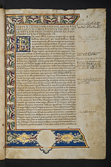Decorated and illuminated border in Cicero, Marcus Tullius: Epistolae ad familiares (University of Glasgow Library) Tags: white floral bar illustrated border vine illuminated folliage annotated foliate marcustulliusepistolaeadfamiliares decoratedandilluminatedborderincicero