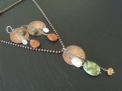 Rainforest Jasper, Hessonite, Moonstone & Copper Set (weirdlywired) Tags: art metal circle necklace hammered handmade jewelry drop chain faceted copper handcrafted sterling earrings pendant gemstones moonstone hessonite sterlingsilver ballchain weirdlywiredjewelry angiesimonsen 2012designs