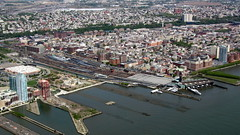 Hoboken Terminal from a helicopter (David Jones) Tags: newyork jerseycity railway helicopter hudsonriver hobokenterminal