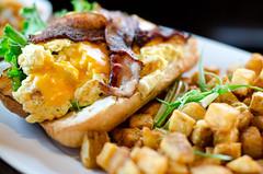 OJ's Breakfast Sandwich (seango) Tags: family wedding vacation canada reunion cheese breakfast bacon edmonton visit sandwich gordon alberta gathering eggs anju homefries originaljoes