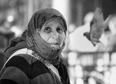 *** (White_V) Tags: street portrait woman bird london canon pigeon candid wb 2012 whiteandblack gypsywoman