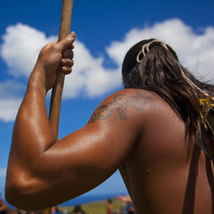 Back Of A Native Man During Spear Competition, Tapati Festival, Easter Island, Chile (Eric Lafforgue) Tags: chile shirtless color colour latinamerica southamerica muscles sport festival square chili pacific muscular competition worldheritagesite attitude pacificocean warrior easterisland oneperson strenght ethnicity spear colorphoto rapanui armsup isladepascua latinamerican hangaroa 2753 midadult southpacificocean  onemanonly  javelot nativeman ili  muscularbuild unrecognizableperson polynesianisland midadultmen   ile    southeasternpacificocean polynesiantriangle chileanpolynesia