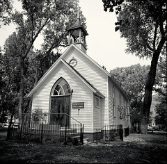 church of commerce (mike thomas) Tags: color film church 50mm conversion kodak hasselblad 100 cfi fle ektar 2000fcw silverefex r00101