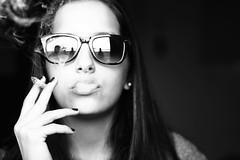 (María Granados) Tags: portrait blackandwhite blancoynegro 50mm glasses retrato adolescente cigarette smoke smoking teen teenager grayscale canon50mmf18 f18 humo rayban anteojos raybay