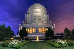 Back to Baha'i (Brian Koprowski) Tags: light chicago church fountain night garden temple illinois pentax faith religion fisheye bluehour bahai evanston hdr wilmette bahaitemple pentaxk5 briankoprowski bkoprowski