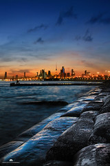 Kuwait - Shuwaikh Beach & Sunset (Abdulaziz ALKaNDaRi | Photographer) Tags: blue sunset fish color colour beach water yellow rock speed canon lens landscape outdoors photography eos rebel high amazing fishing aperture exposure flickr photographer gulf view shot quality east iso photograph arab arabia kuwait arabian hq middle scape length ef 1740 2012 shuwaikh q8 waterscape focal kwi     abdulaziz     kuw  550d  q8city    t2i  arabgulf  alkandari  abdulazizalkandari wearab