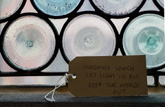 Note in window (mktdg) Tags: light window glass circle thought tag perspective lead comment