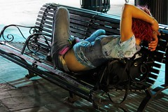 """""""Asleep on a Bench at Night"""" - New Orleans (TravelsWithDan) Tags: nightphotography woman usa candid neworleans homeless streetphotography asleep redhair louisianna"""
