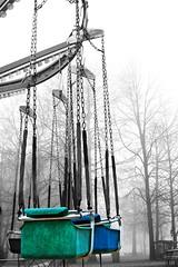 GIOSTRE (elia_casella) Tags: park blue light blackandwhite colour tree alberi blu carousel luna cher rides azzurro colori giostra sedia biancoenero giostre catene