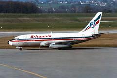 "Britannia Airways Boeing 737-204/Adv G-BFVB ""Sir Thomas Sopwith"" (Kambui) Tags: airplane geneva airplanes 737 aviones britannia avions genf flugzeuge  avies 737200 aeroplani kambui  gbfvb"