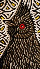 phainopepla (Lisa Brawn) Tags: wood portrait calgary bird art birds illustration painting design graphics artist folkart wildlife canadian carving popart alberta woodcut woodcarving woodblock brawn reclaimed salvaged wildbirds upcycled lisabrawn birdsinart