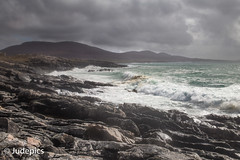 A Wild Day on the Coast (judepics) Tags: sea rain clouds scotland windy gale harris horgabost outerhebridies