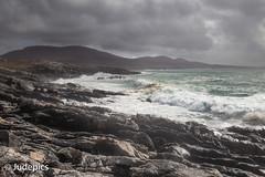 A Wild Day on the Coast (judepics) Tags: sea rain clouds scotland windy gale harris horgabost outerhebridies