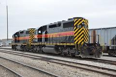 Iowa Interstate Railroad No 153 (SD38-2) and No. 708 (GP38-2), Iowa, Atlantic (EC Leatherberry) Tags: railroad iowa locomotive 1978 1972 gp382 sd382 iowainterstaterailroad atlanticiowa penncentralrailroad reserveminingrailroad