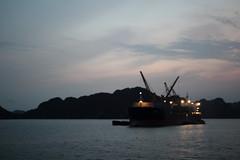 Ha Long Bay 12 (gsamie) Tags: ocean sea blur rock canon islands boat vietnam tanker halongbay t3i 600d quangninhprovince gsamie guillaumesamie