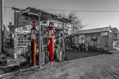 Galvin-Station-BW-Color (Rob Green - SmokingPit.com) Tags: old 2 bw white black color building green art station architecture canon washington artwork pumps pacific northwest artistic mark rustic rob historic gas ii sound 7d wa service petrol fuel puget selective galvin