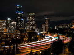 The City I Live In (self.defenestration) Tags: seattle city urban color night landscape lights highway cityscape fireworks westcoast pnw i90