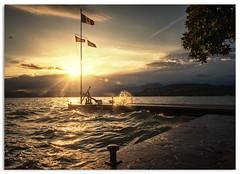 Lake Garda (.Wadders) Tags: sunset italy lake water ngc flags lakegarda bardolino 2016 d600 nikkor1635mmf4 nikonfxshowcase almarinaiomonument
