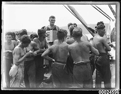German sailors and an accordion player on board MAGDALENE VINNEN, March 1933 (Australian National Maritime Museum on The Commons) Tags: sailors woolloomooloo sailor sydneyharbour barque seashanty harbourscenes merchantvessel magdalenevinnen foreignvessel samueljhoodcollection